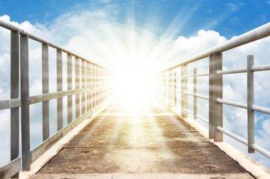 walkway to heave. bridge in blue sky