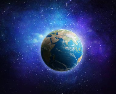 Earth and galaxy. Elements of this image furnished by NASA