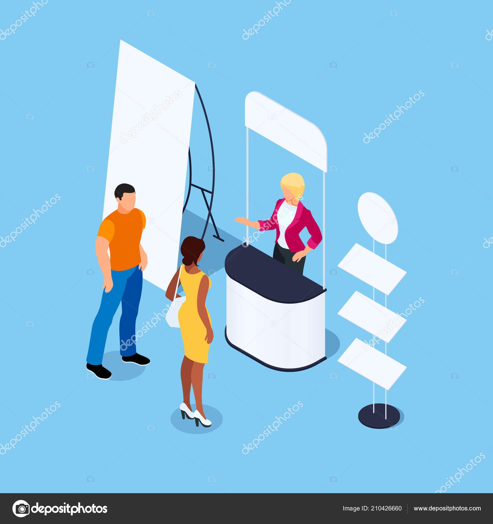 9e2c4bed8203 Ισομετρική διαφημιστικό stand με υποκινητή και τους πελάτες. Περίπτερο με  διαφημιστικές αφίσες και rack για το προϊόν. Κενό κοροϊδεύω.
