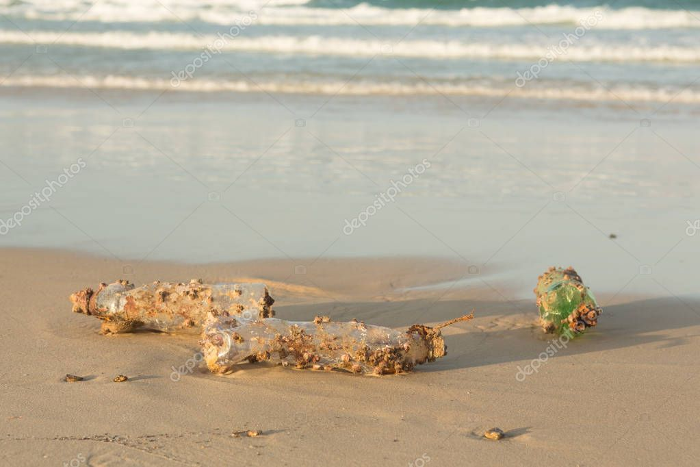 Plastic products clog nature more and more. Plastic bottle covered in sea barnacles and sponges (foulers) and cast ashore on the beach, marine pollution.
