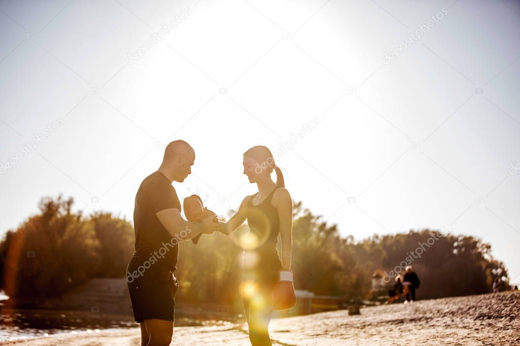 Shot of a boxer getting ready for a training outdoors