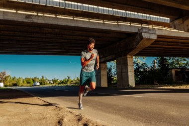 African american athlete man running outdoors.