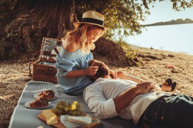 Shot of young couple embracing on picnic.