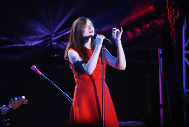 Minsk, Belarus - August 13, 2018: British singer Sophie Michelle Ellis-Bextor performs during A-Fest in Minsk,  Belarus
