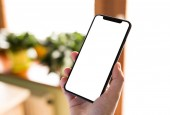 Fotografie Man hand holding the black smartphone with blank screen and modern frame less design - isolated on home interior background