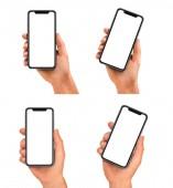 Fotografie Muž držel černý smartphone s prázdnou obrazovkou a moderní rám méně design - izolované na bílém pozadí