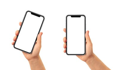 Woman hand holding the black smartphone with blank screen and modern frame less design - isolated on white background, vertical and curved position