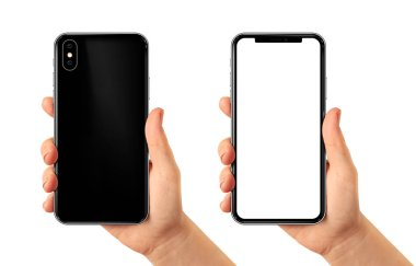 Smartphone in woman hand blank screen. Back and front