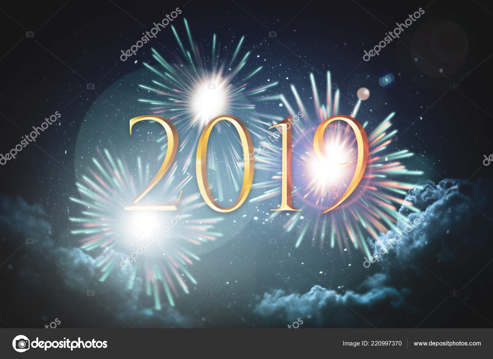 2019 text on a background of fireworks sparks and starry sky with clouds new years eve poster photo by guteksk7