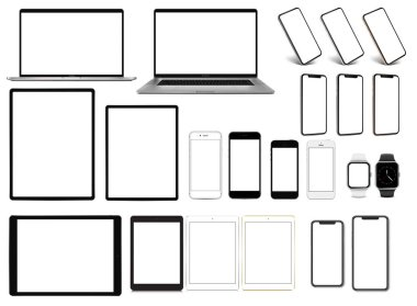 Laptop smartphone tablet pro smartwatch set of devices isolated on white background. High detailed vectors