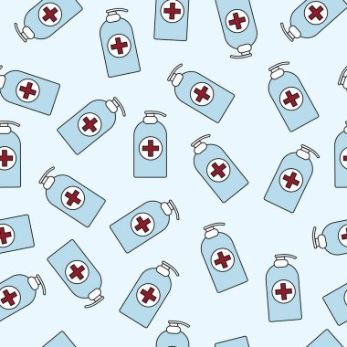 Seamless pattern. Vector image of an antiseptic agent, soap icon