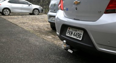 salvador, bahia / brazil - june 27, 2020: trailer hitch is seen at the rear of a vehicle in the city of Salvador.