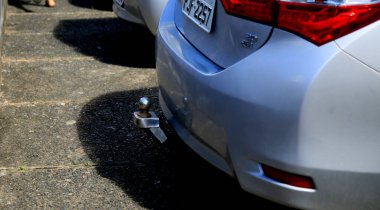 salvador, bahia / brazil - june 28, 2020: trailer hitch is seen at the rear of a vehicle in the city of Salvador.