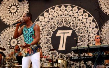 salvador, bahia / brazil - august 7, 2016: Tatau, vocalist of the band Araketu is seen during presentation at Parque da Cidade in Salvador.