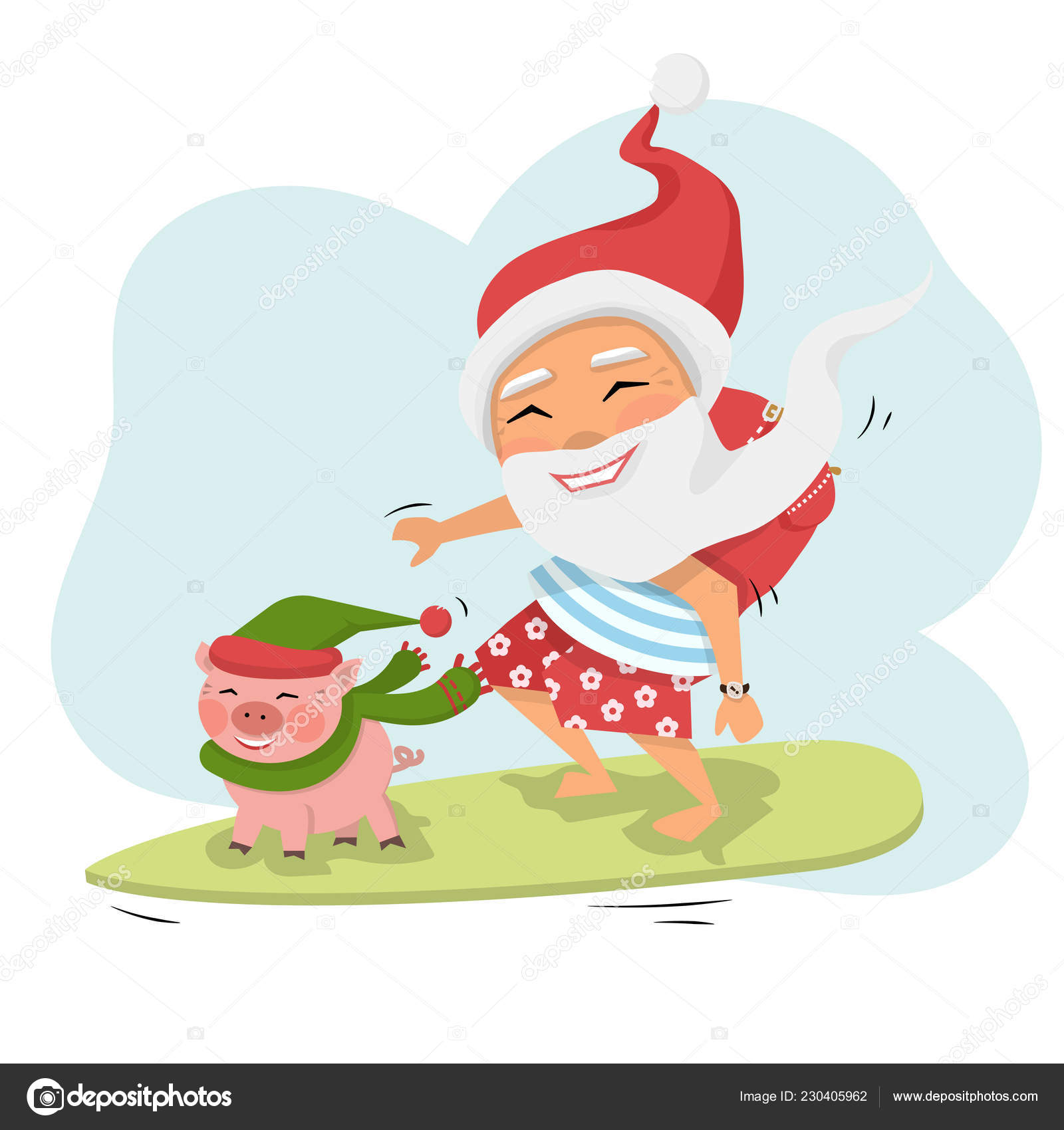 Santa Claus with pig on surfboard with gifts — Stock Vector