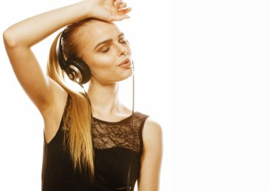 young sweet talented teenage girl in headphones singing isolated on white