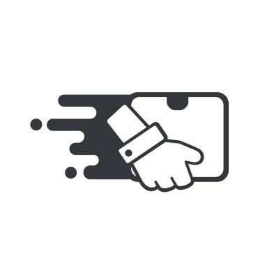 Delivery icon. The hands of employees who deliver products at speed to customers at home.
