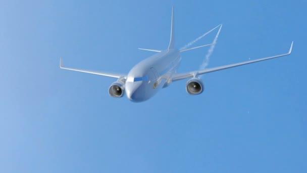 Flugzeug in den Himmel fliegen. 3D-Darstellung. alpha matt