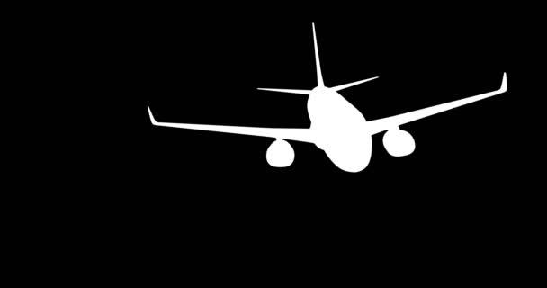 Silhouette eines am Himmel fliegenden Flugzeugs. 3D-Darstellung.