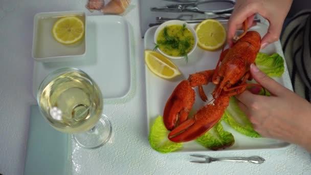 Žena jíst humří maso v restauraci, vařený humr na talíři s omáčkou