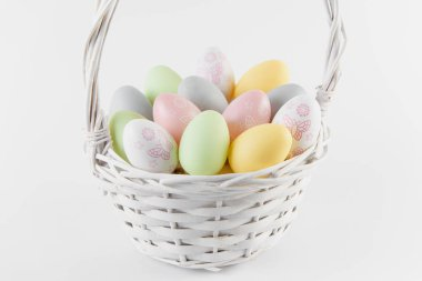 Happy Easter. Congratulatory easter background. Easter eggs and flowers