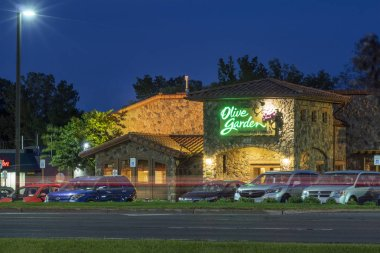 New Hartford, NY - SEPTEMBER 09, 2019: Exterior of Olive Garden Italian Kitchen Restaurant Location. Olive Garden is a chain restaurant that offers casual Italian cuisine at over 800 locations.