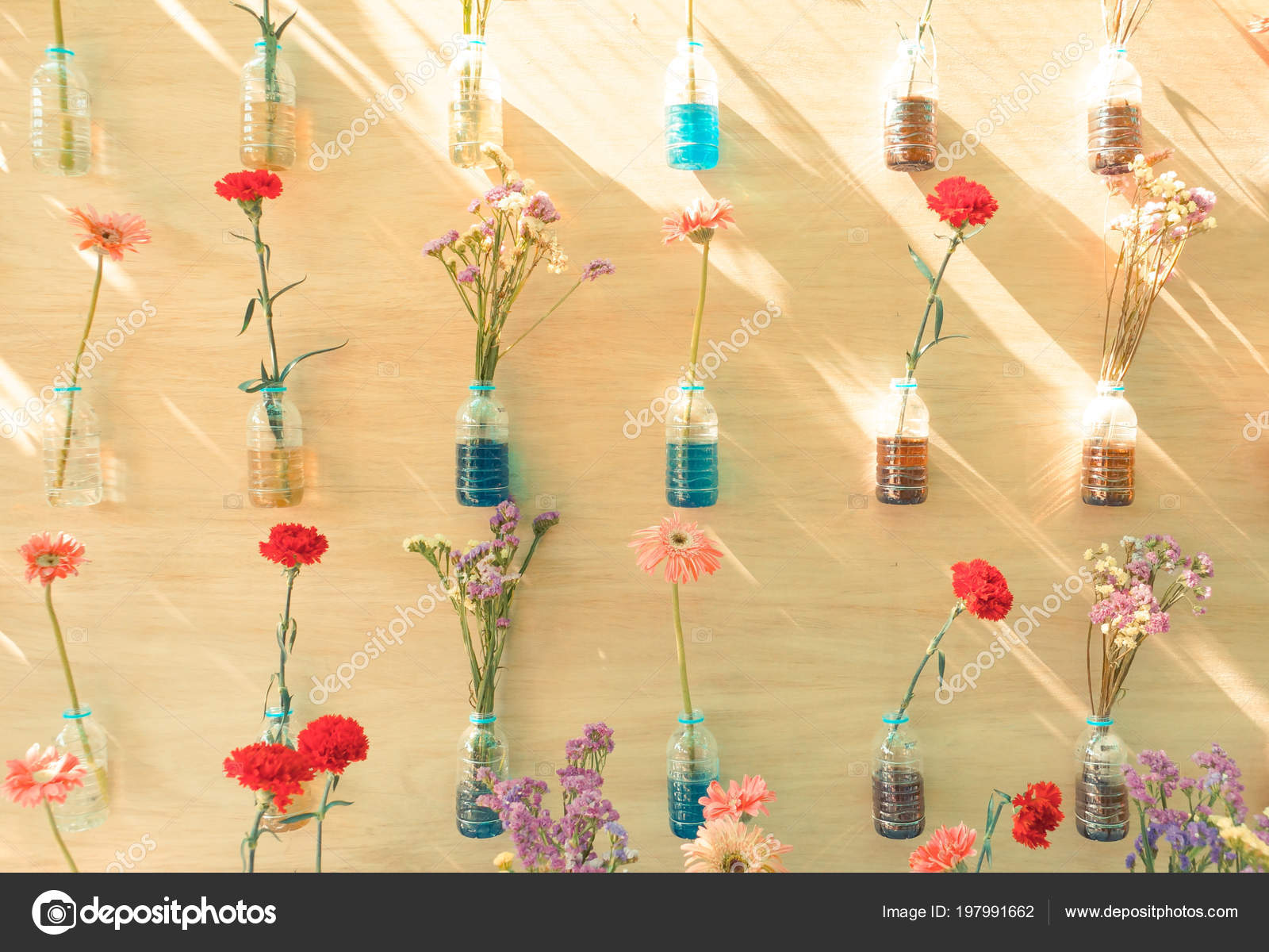 Colorful Flowers Plastic Bottles Hung Wooden Wall Home Decoration ...