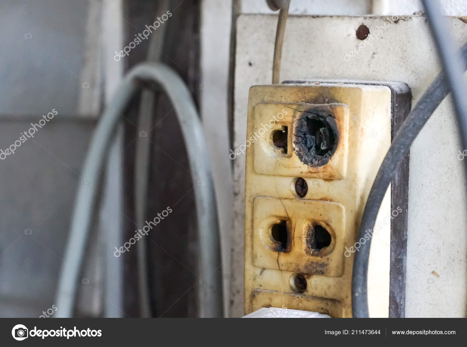 Safety Damaged Wiring On Diagram Power Outlet Electrical Electricity House Stock Photo Intrinsically Safe