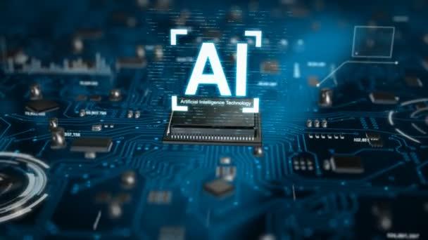 3D render Ai mesterséges intelligencia technológia Cpu központi feldolgozó egység hasábburgonya-on a nyomtatott áramköri lap, az elektronikus és válassza ki a fókusz sekély mélységélesség a sötét és feldolgozott gabona technológia koncepció