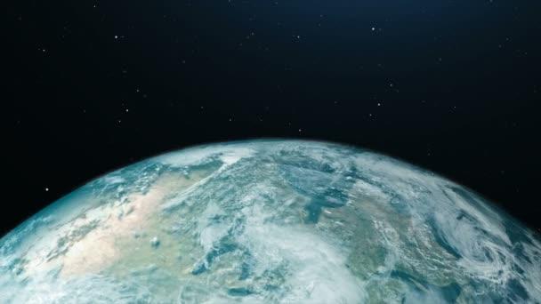 3D vykreslování zeměkoule otáčející a oběžnou dráhu ve vesmíru s světelný efekt a tmavé obilí zpracována zdroj obrazu mapy světa z Nasa