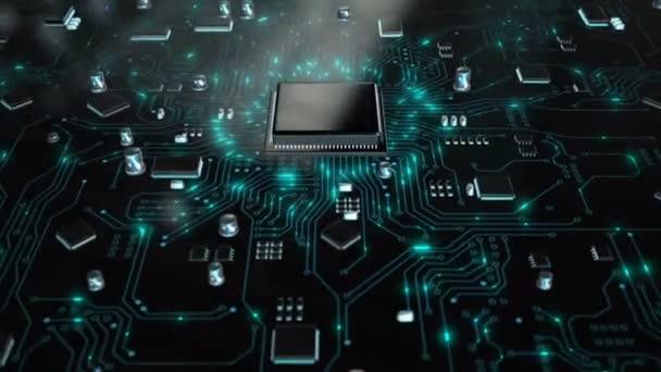 Renderelés animáció az AI mesterséges intelligencia a CPU chipset központi processzor és az elektromos nyomtató áramkör az adatátviteli fény sötét és gabona feldolgozott