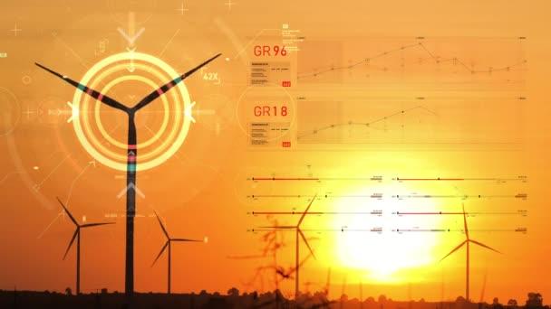 Silueta větrných turbín s textovým grafem a prvkem cílového ukazatele futuristická eko alternativní energie obnovitelné a kybernetické technologie