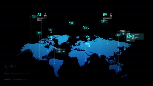 World map Futuristic user interface HUD GUI digital text number element for cyber technology concept with dark and grain processed