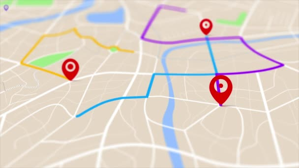 3D rendering GPS map navigator with direction path, different color of a route for transport concept, select focus shallow depth of field