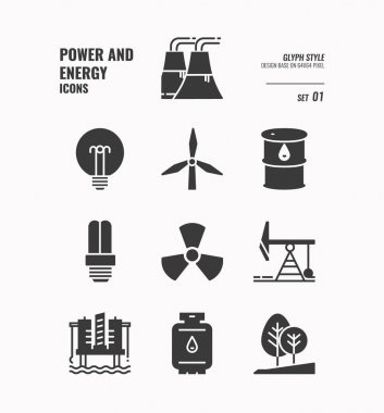 Power and energy icon set 1.