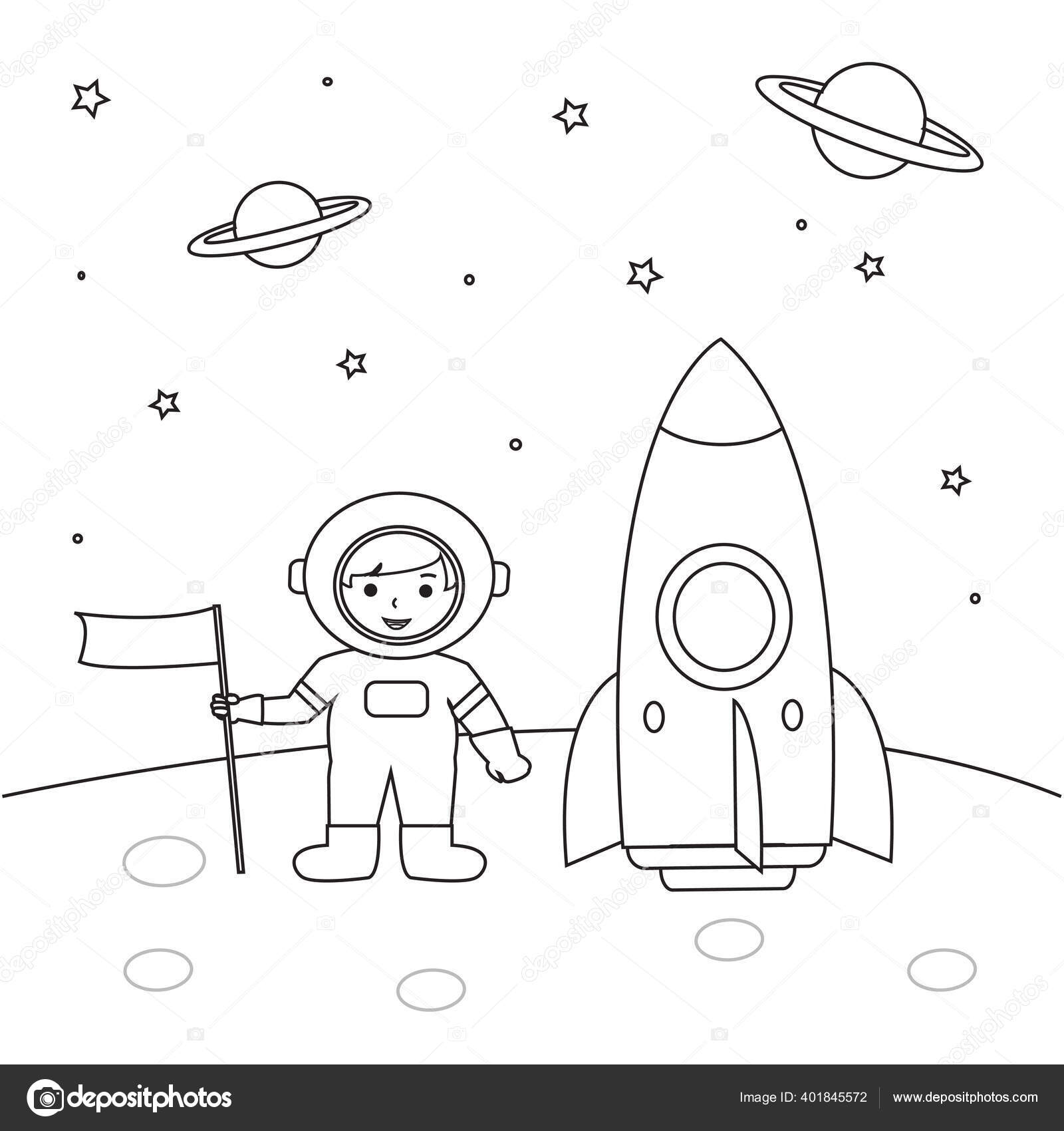 Astronaut Outline Coloring Pages Kids Illustration Vector Vector Image By C Lizstudio Vector Stock 401845572