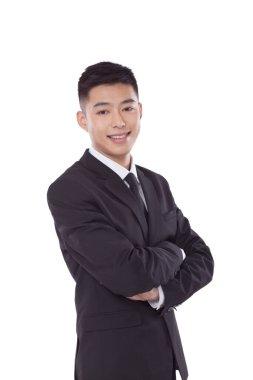 Self-confident businessman crossing hands