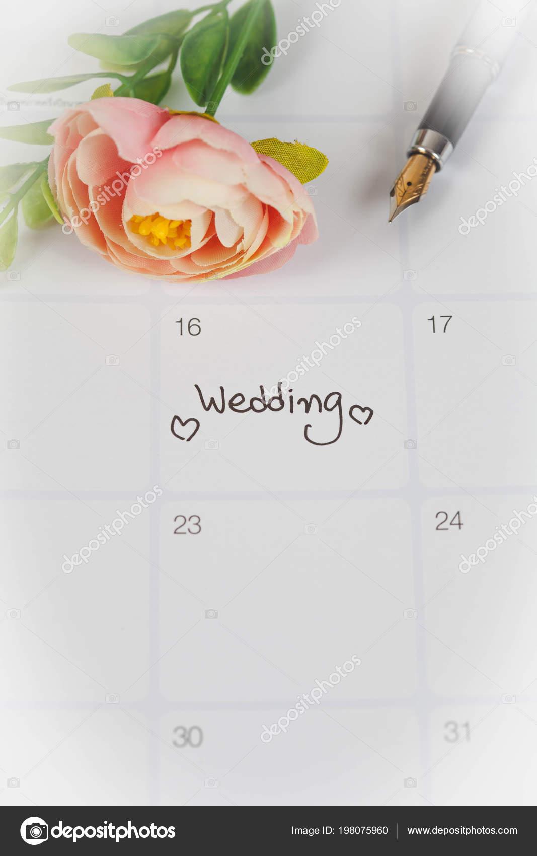 Reminder Wedding Day Calendar Planning Fountain Pen Color Tone