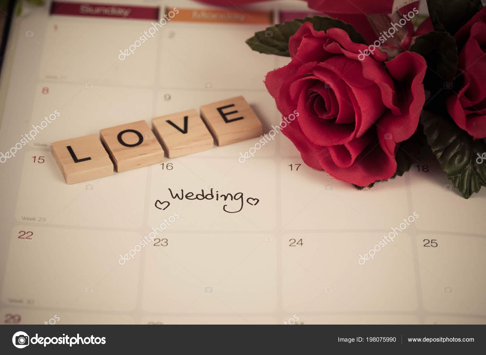 ebaa22973b9b Día Boda Recordatorio Calendario Planificación Amor Carta Madera Con Tono —  Fotos de Stock