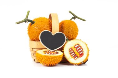 Fresh Baby jackfruit with heart sign on white background