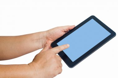 Hand hold a tablet and touch screen isolated on white background