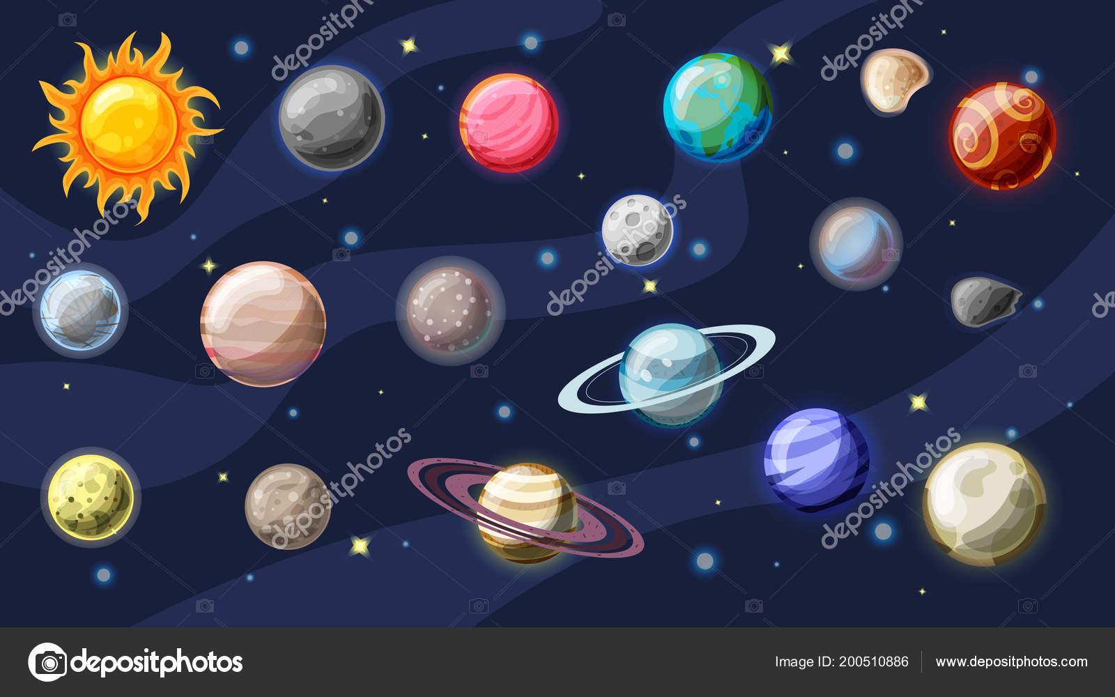 Slunecni Soustave Vektor Kreslene Kolekce Planety Mesice Zeme