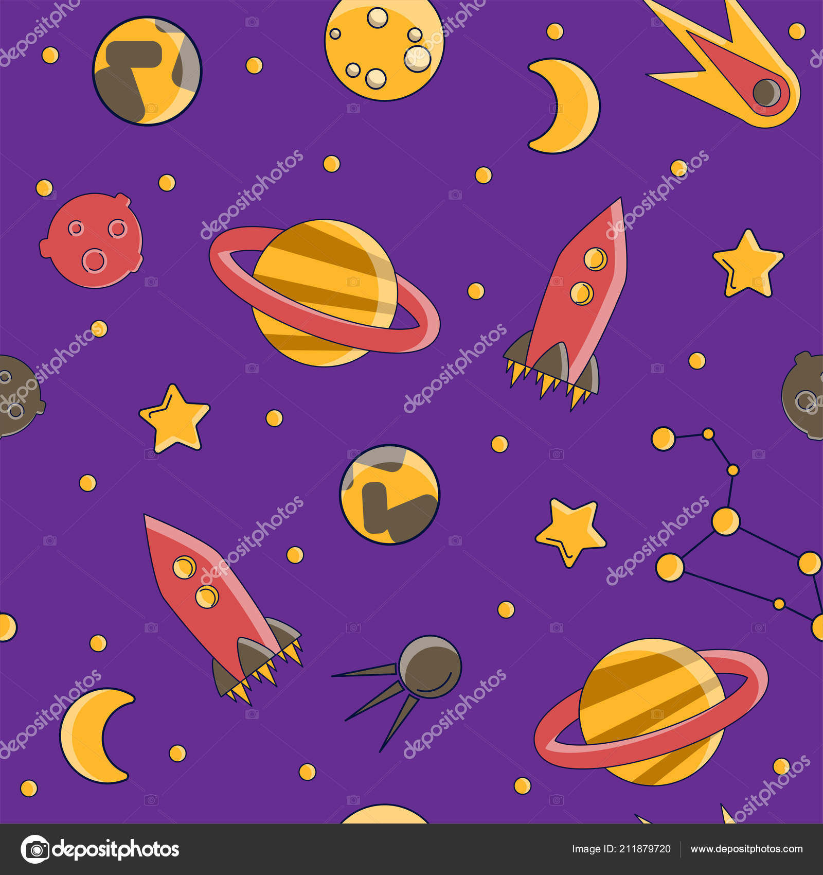 Cartoon Flat Kids Space And Cosmos Science Seamless Pattern