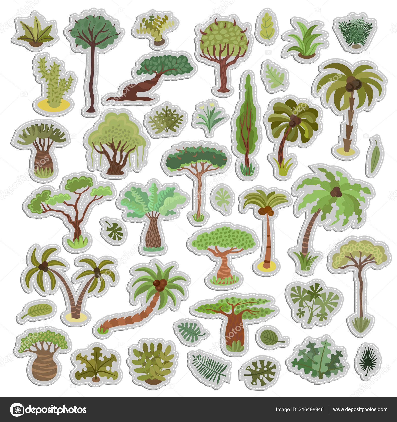 Collection of tropical trees stickers palms and other tropical exotic plants sticker vector illustration set rainforest jungle trees plants shrubs