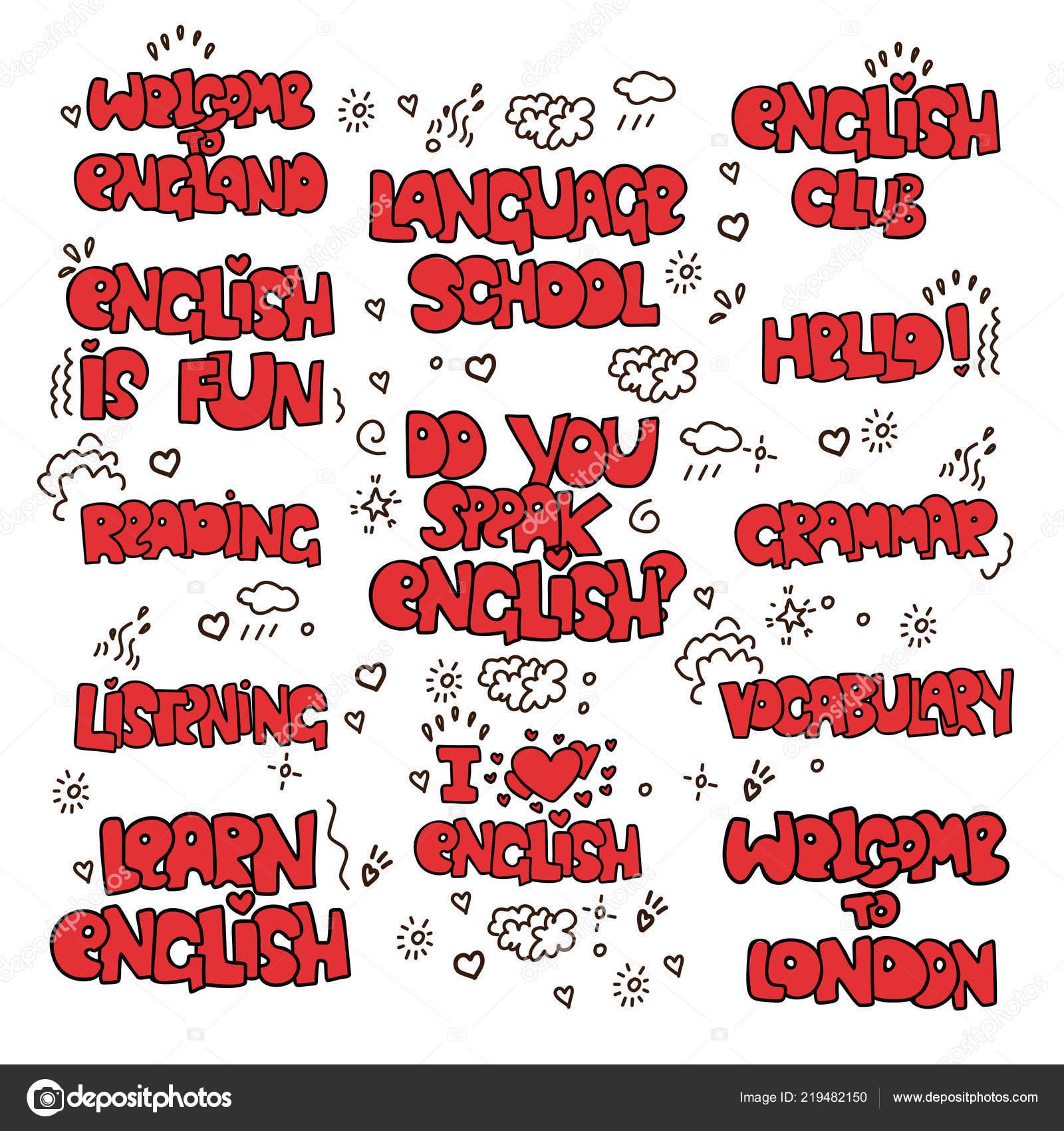 Aprender Inglés Letras Educativas Coloreado Frases Y