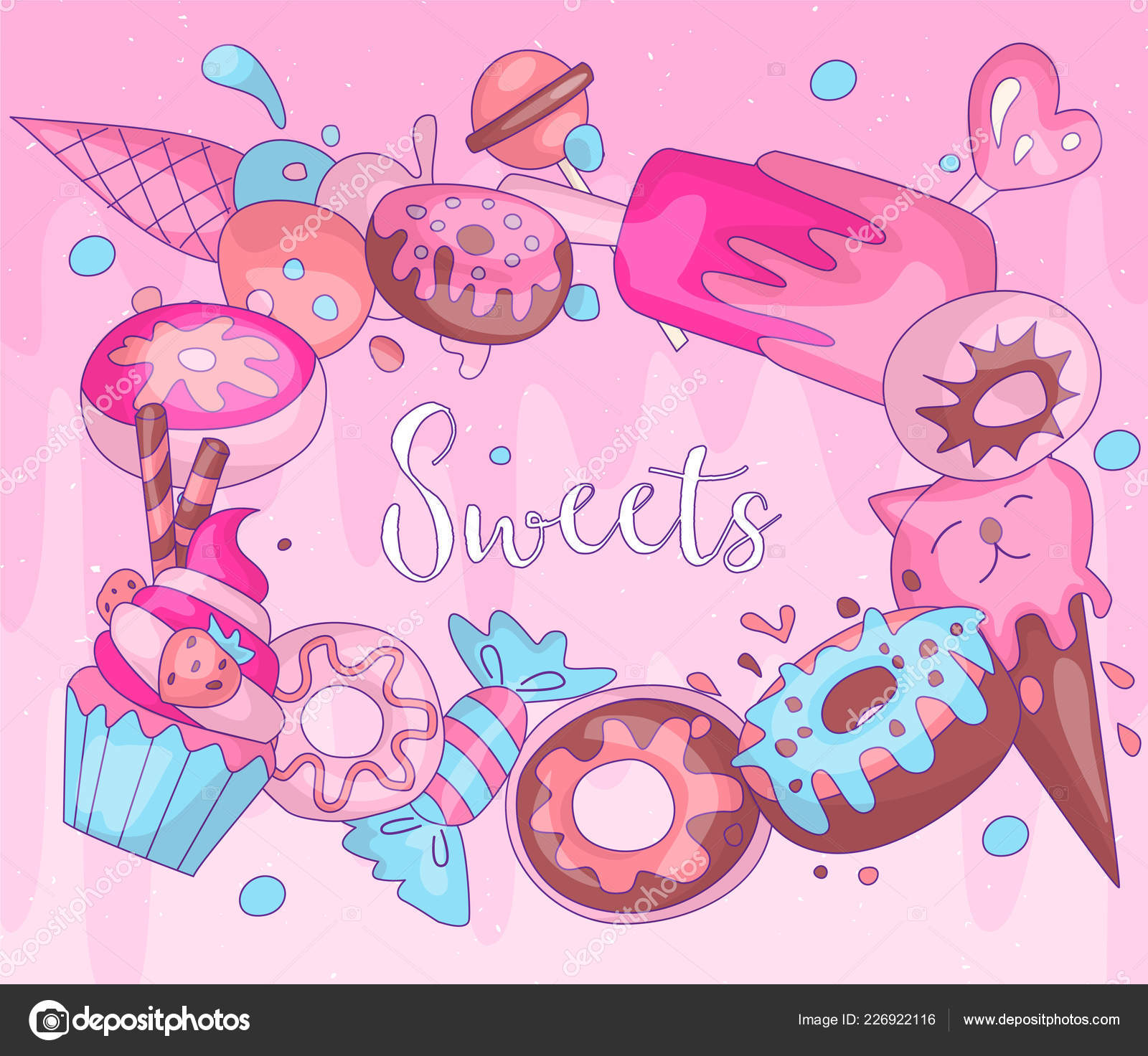 Cute Funny Girl Teenager Colored Icon Round Set Sweets Fashion Cute