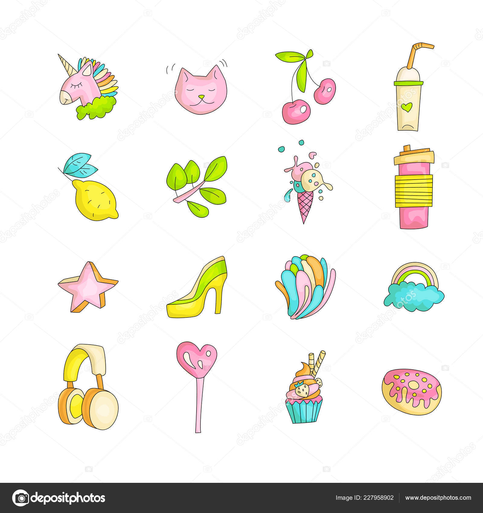 Cute Funny Girl Teenager Colored Icon Set Fashion Cute Teen And