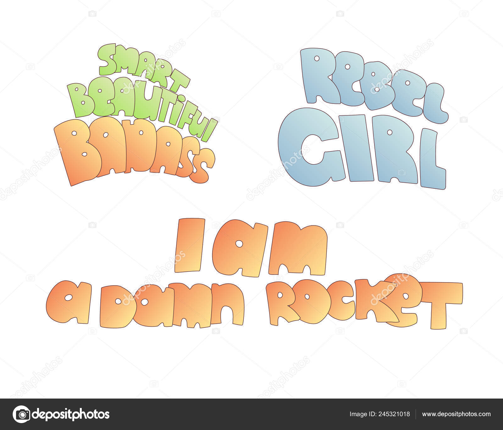 Bonito Dos Desenhos Animados Feminista Rebelde Garota E