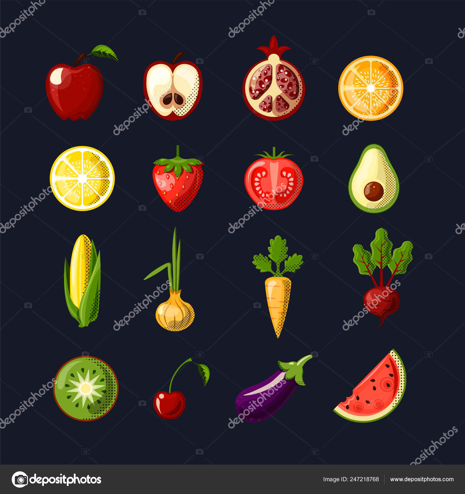 Healthy food colored flat icon set. Fruits and vegetables in one set ...