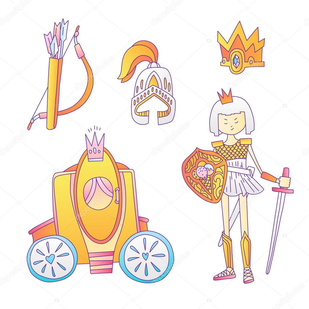 Medieval Cute Cartoon Princess Icon Set Princess Girl Warrior Helmet Crown Bougham And Bow With Arrows Cute Gold And Grey Collection For Little Girl And Princesses Royal Princess Icon Collection Premium Pngtree provides millions of free png, vectors. medieval cute cartoon princess icon